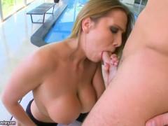 Brunette Alanah Rae with big melons satisfies her sexual desires