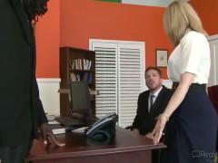 Great interracial sex with Nathan Threat and Nina Hartley