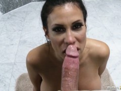 Latin Sheila Marie gets a mouthful of schlong in blowjob action with Bill Bailey