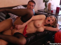 Rocco Reed plays with wet fuck hole of With big boobs and hairless snatch before he bangs her hard